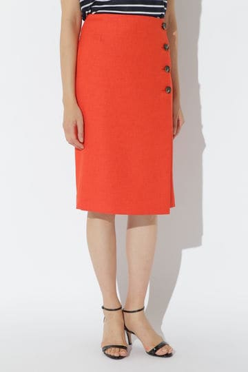 [WEB限定商品][ウォッシャブル]リネン調ツイル巻き風スカート