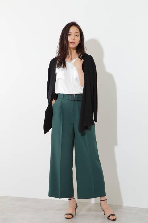 【水卜麻美さん着用】麻混ギンガム/麻調サップワイドパンツ