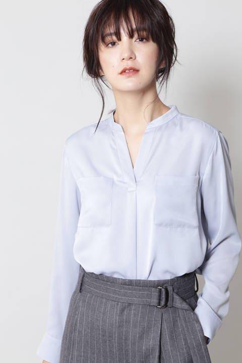 【ドラマ 新木優子さん着用】【CLASSY 1月号掲載】ピーチサテンブラウス