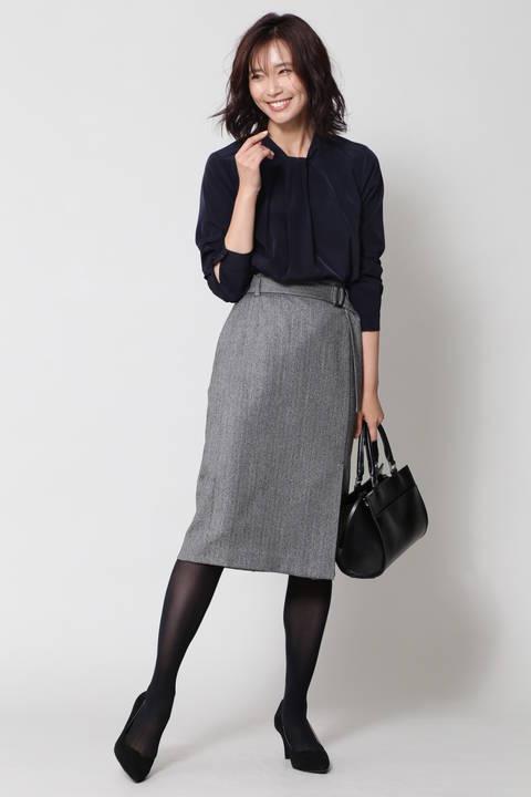 ストレッチヘリンボーンスカート
