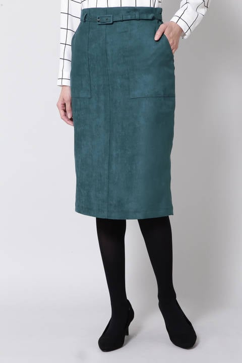 ポケット付きフェイクスエードタイトスカート