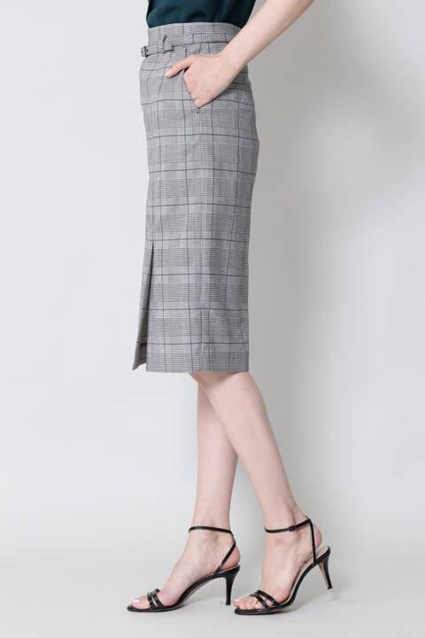【竹内由恵さん着用】[ウォッシャブル]T/Rグレンチェックスカート