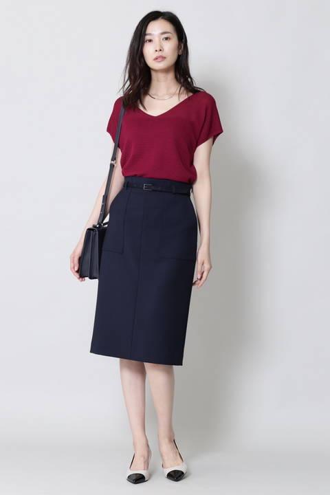 【水卜麻美さん着用】[ウォッシャブル]ベルテッドポケットタイトスカート