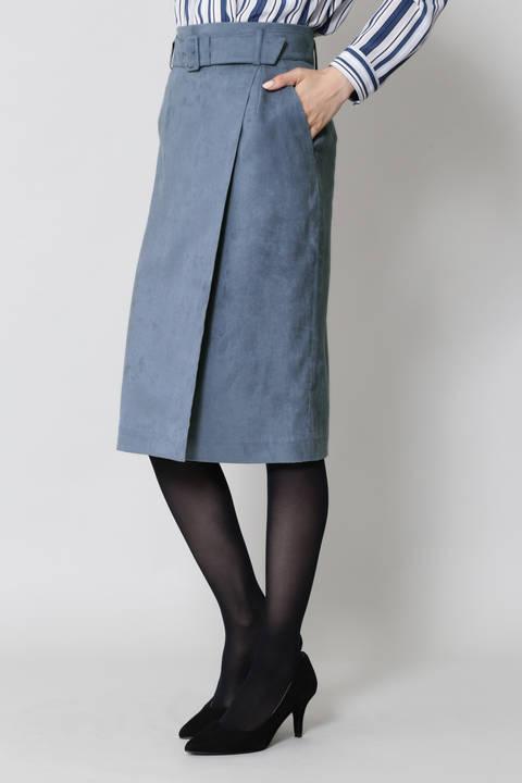 ベルト付スエードスカート