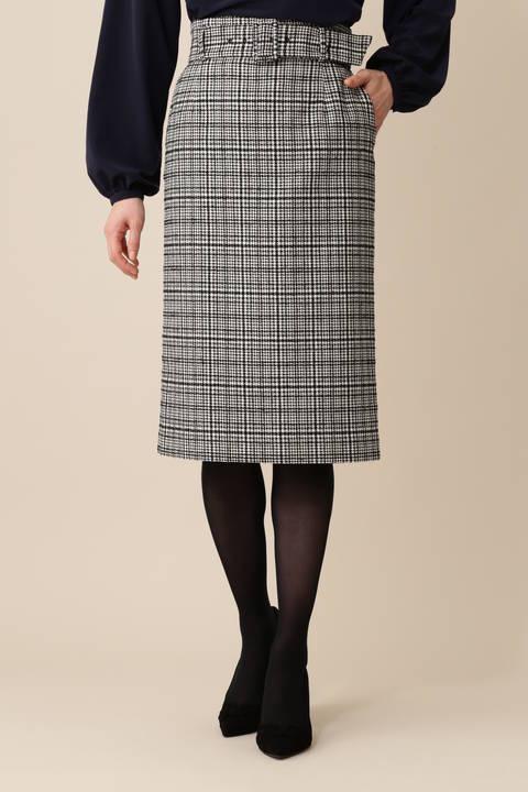 【先行予約 8月下旬 入荷予定】《B ability》ウールグレンチェックタイトスカート