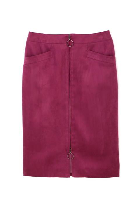 【先行予約 9月上旬 入荷予定】[WEB限定商品]フェイクスエードジップ付きスカート