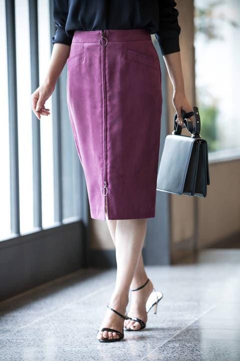 【水卜麻美さん着用】[WEB限定商品]フェイクスエードジップ付きスカート