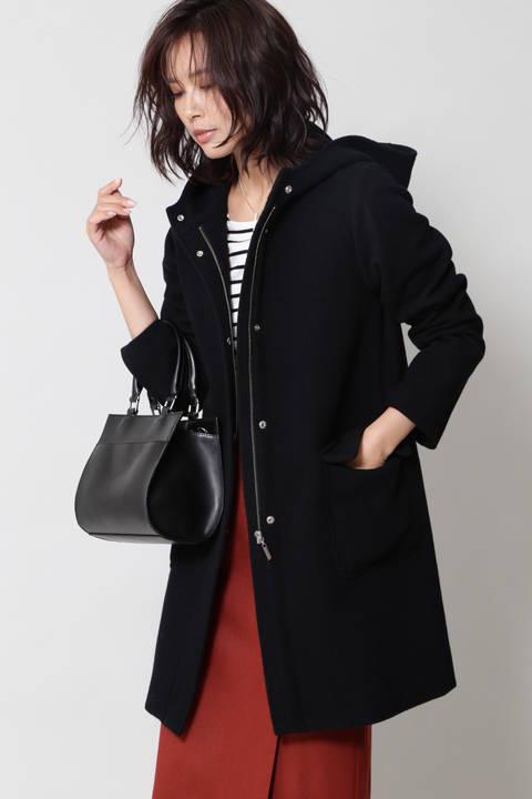 【CLASSY 11月号掲載】ウール混フーデッドコート