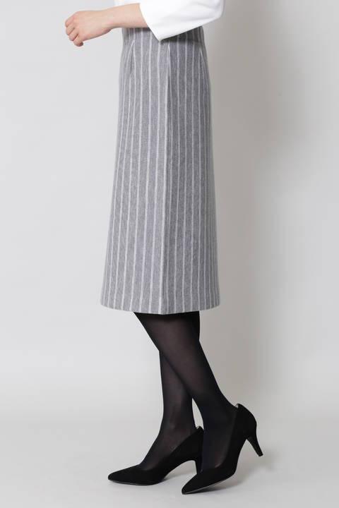 ストライプミラノリブニットスカート
