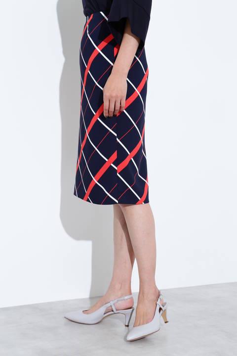 [ウォッシャブル]マリンチェックプリントスカート