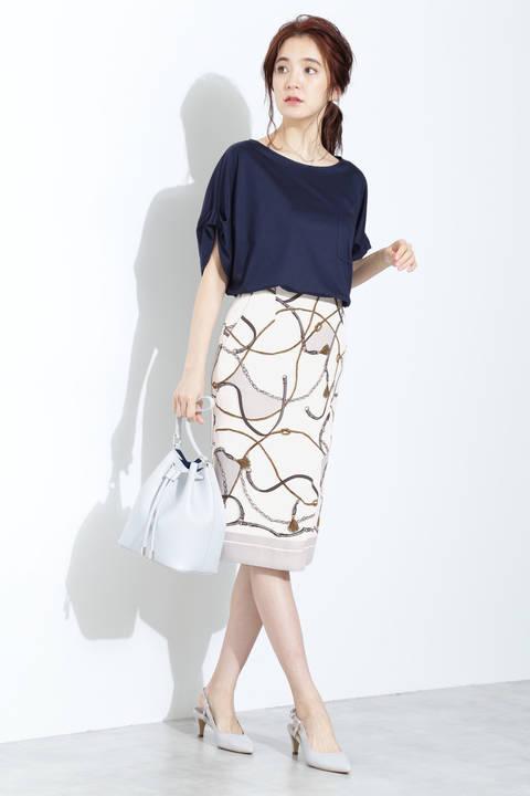 【ドラマ 菜々緒さん着用】[ウォッシャブル]スカーフプリントスカート