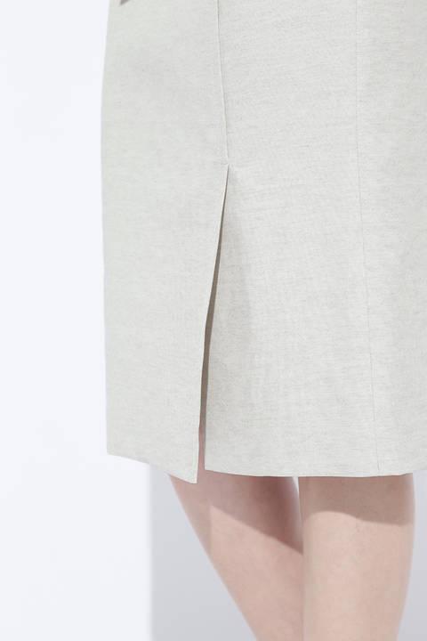 麻混オックスラップ調スカート