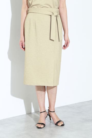 [ウォッシャブル]麻調ジャージースカート