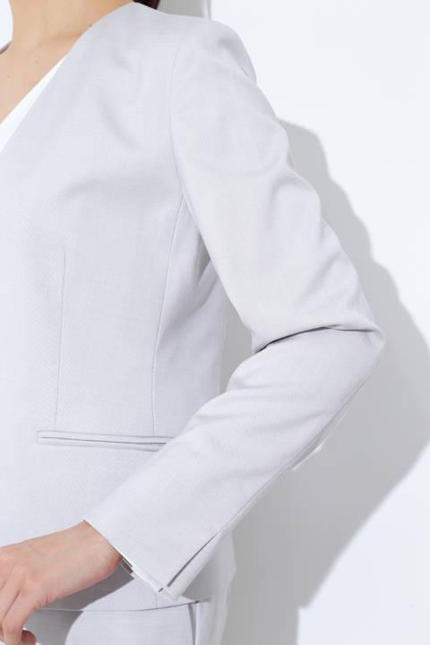 [ウォッシャブル]シャークスキンノーカラージャケット