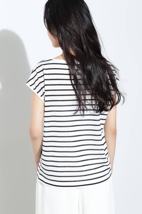 フレンチスリーブボーダーTシャツ