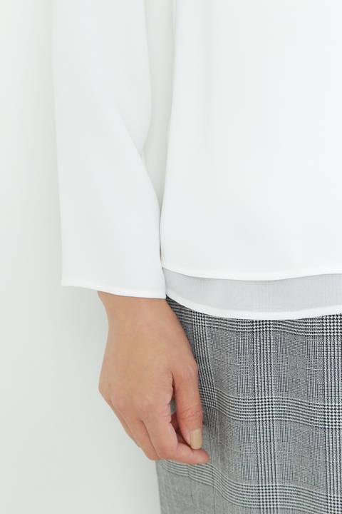 【ドラマ 波瑠さん着用】[ウォッシャブル]シフォンコンビブラウス