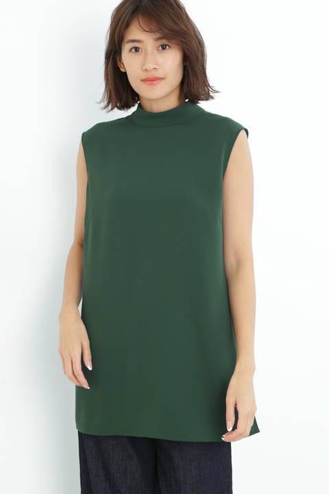 [ウォッシャブル]ハイネックノースリーブブラウス