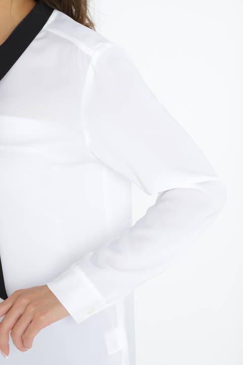 [WEB限定商品][ウォッシャブル]バイカラーボータイブラウス
