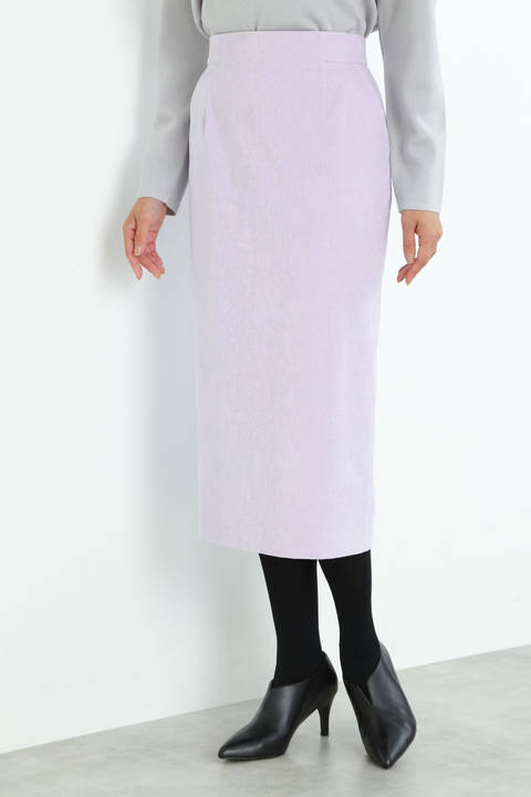 [ウォッシャブル]細コールロングタイトスカート