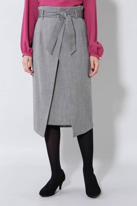 【アナウンサー 加藤綾子さん着用】《B ability》ヘリンボーンスリットラップスカート