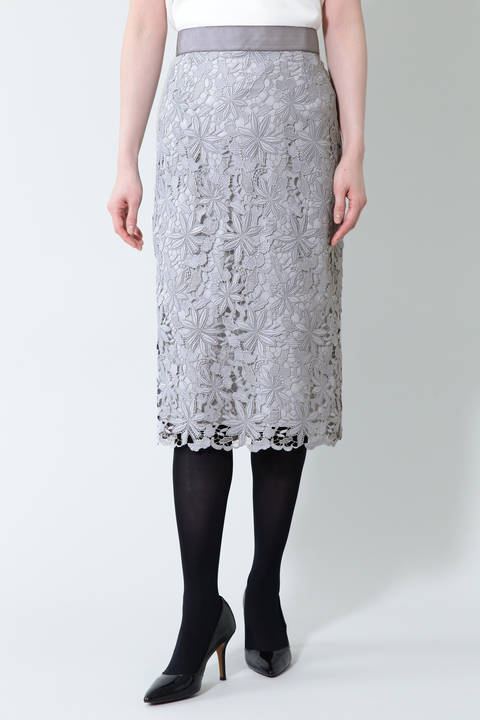 【ドラマ 鈴木京香さん着用】《B ability》ケミカルレースタイトスカート