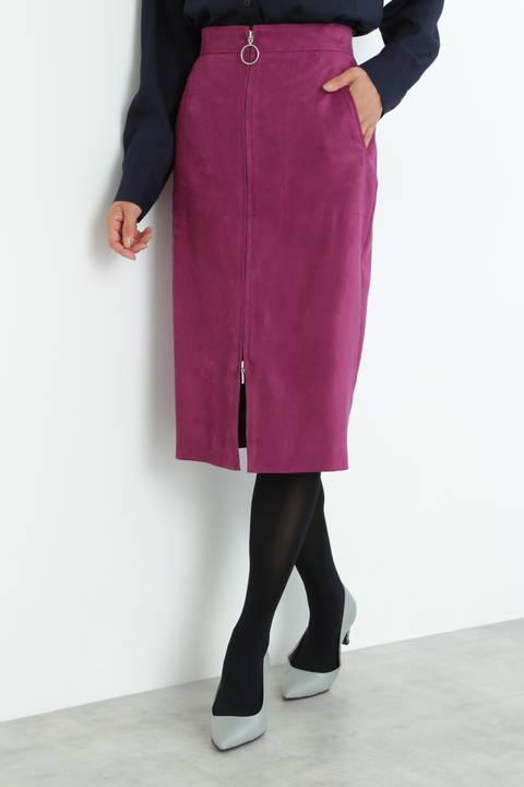 【先行予約 8月下旬-9月上旬入荷予定】[WEB限定商品]フェイクスエードフロントジップスカート