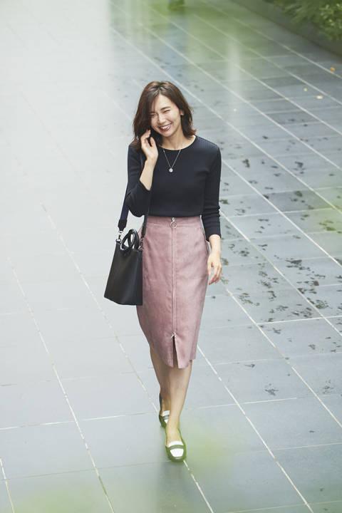 [WEB限定商品]フェイクスエードフロントジップスカート