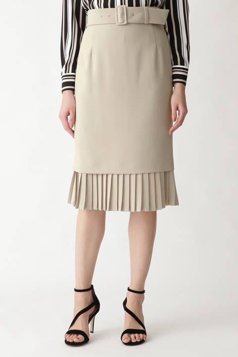 ダブルクロス裾プリーツスカート