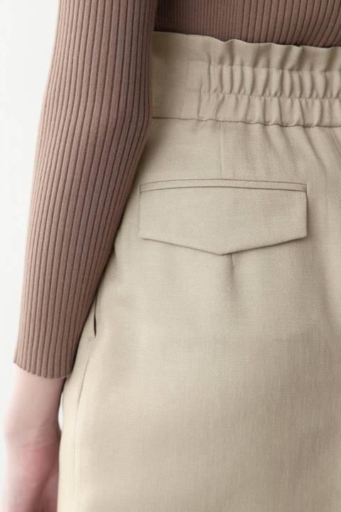 麻調合繊ボタンラップスカート