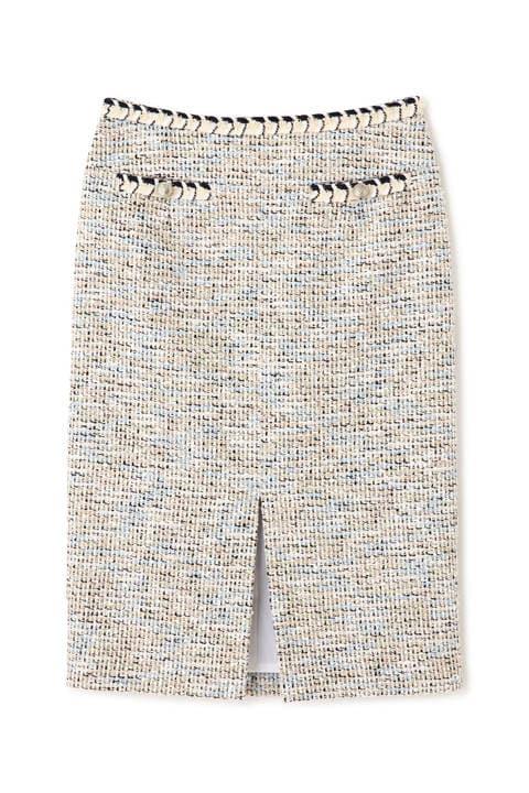 ブレードトリミングカラーツイードスカート