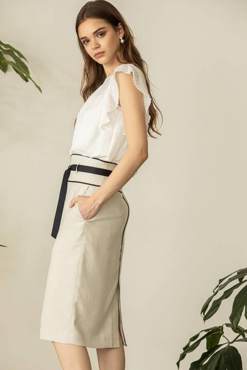 [ウォッシャブル]配色パイピングスカート