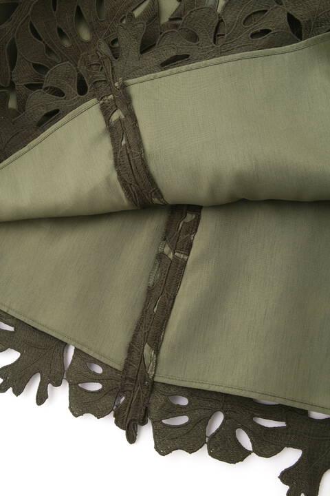 【先行予約 6月上旬-中旬入荷予定】リーフレースフレアスカート