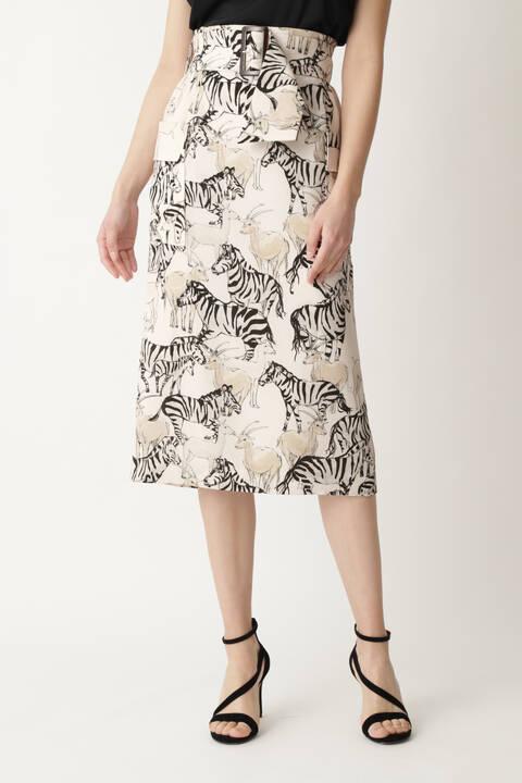 [ウォッシャブル]アニマルミックスプリントスカート