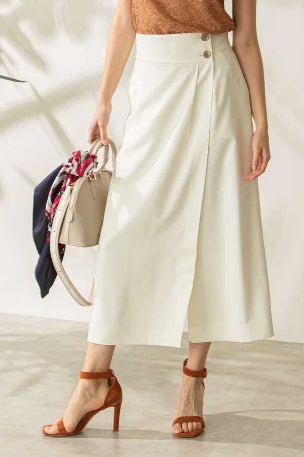 麻調合繊ラップスカート風セットアップパンツ
