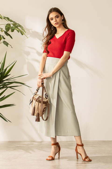 【先行予約 6月上旬-中旬入荷予定】麻調合繊ラップスカート風セットアップパンツ