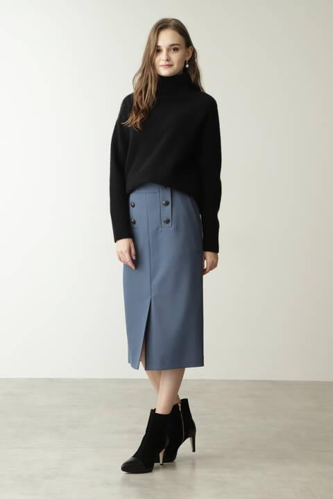 ストレッチツイルダブルボタンスカート