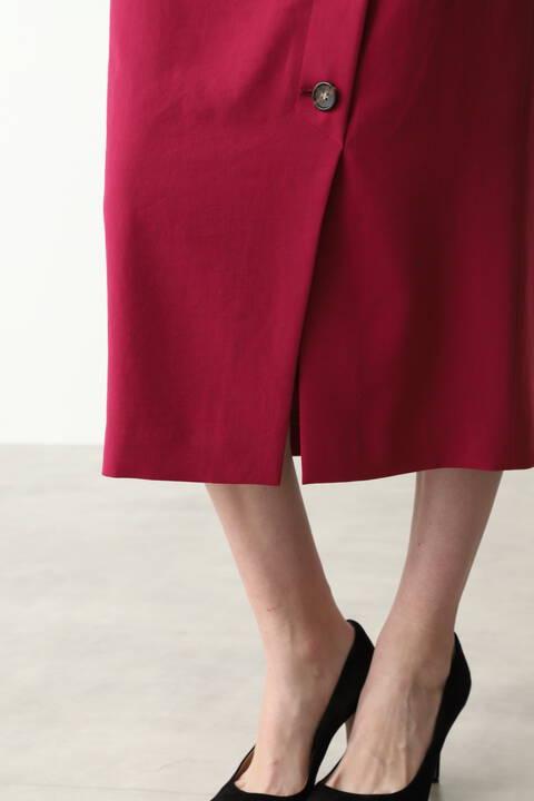 [ウォッシャブル]サイドボタンミモレ丈スカート