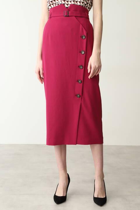 【先行予約 7月下旬-8月上旬入荷予定】サイドボタンミモレ丈スカート