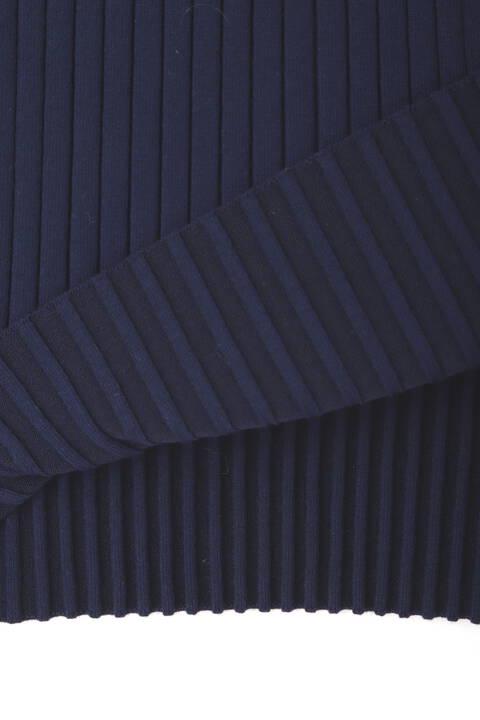 フロントメタル釦付きワイドRIBニットワンピース