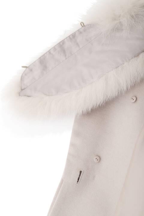 カシミヤ混フォックスファー襟コート