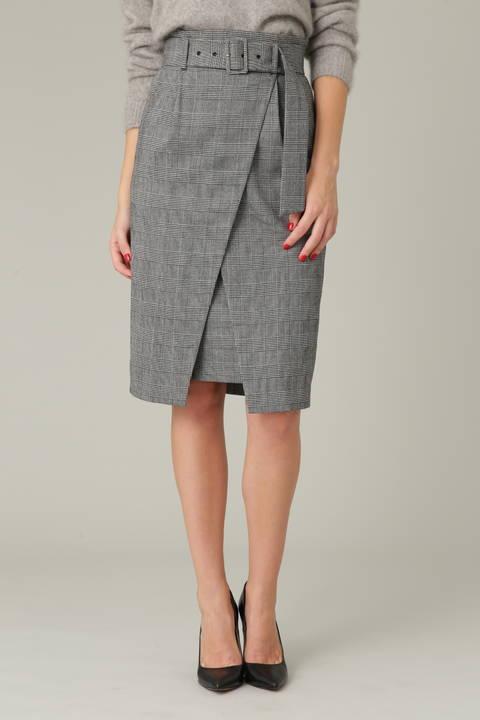 ウールグレンチェックラップスカート