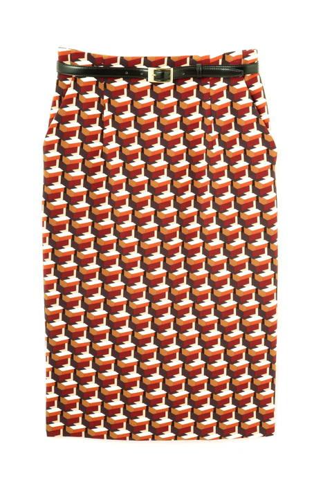 ジオメトリックキューブプリントタイトスカート