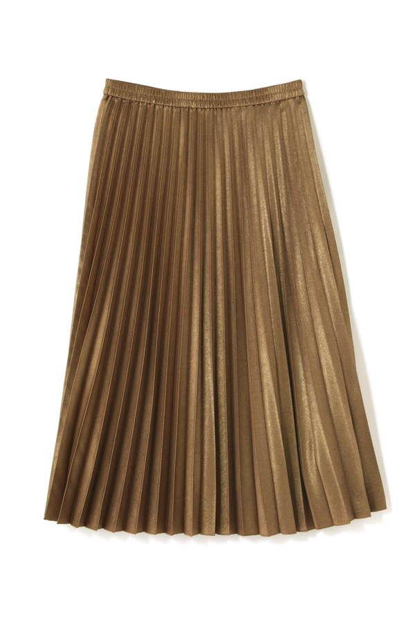 メタリックサテンプリーツスカート