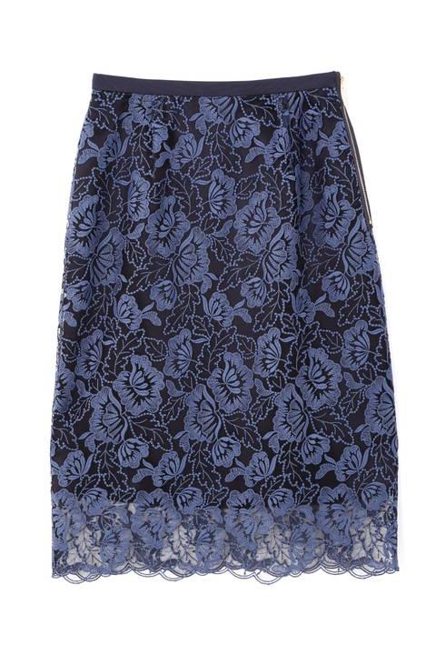 フラワー刺繍レース スカート