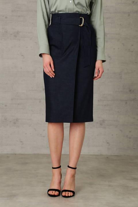 デニムライクシャンブレー ミディ丈 スカート