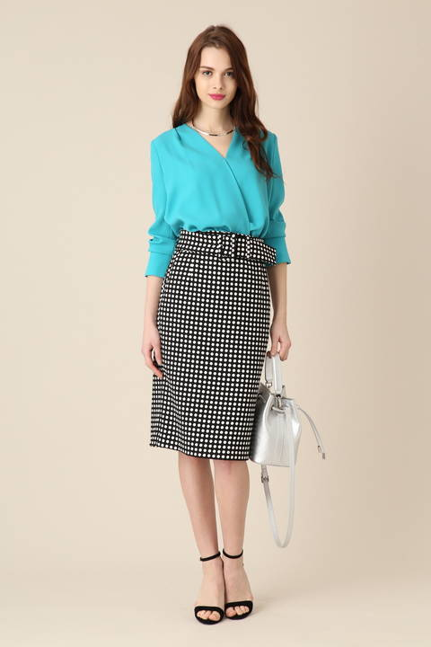ポルカドットベルト付きタイトスカート