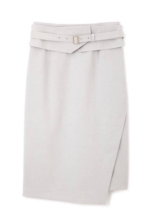 リネンタッチコルセット風ベルト付きスカート