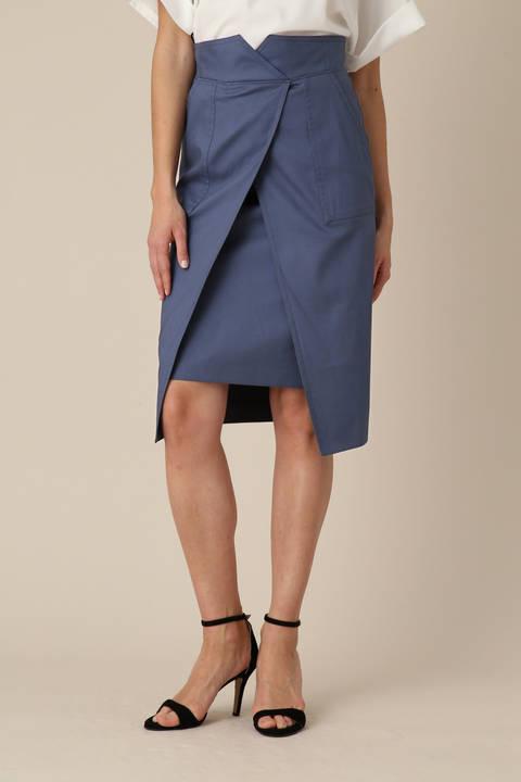 リネンチノラップレイヤードスカート