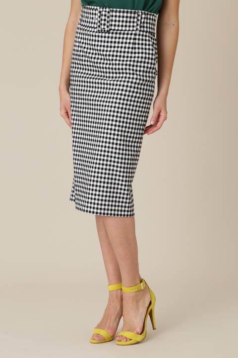 モノトーンチェックミディータイトスカート