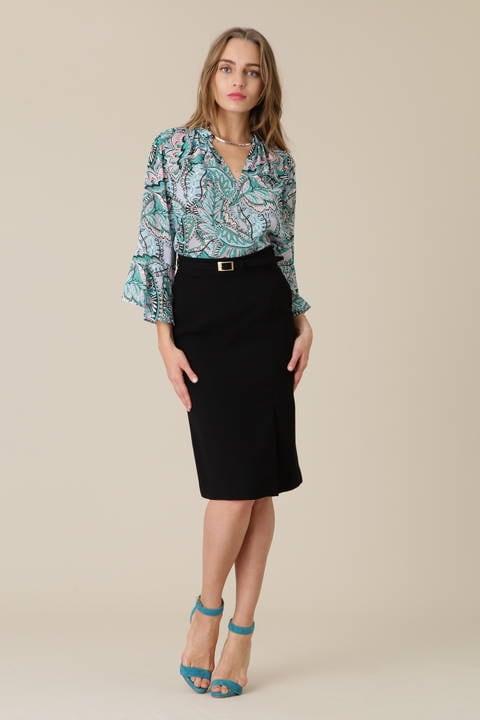 カラージョーゼットラップ切り替えスカート